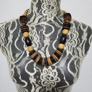 Vintage wood African beaded necklace